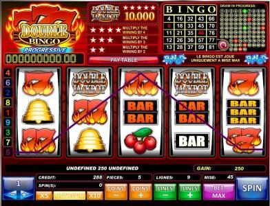 Play slots at emu Casino: emu Casino featuring the Video Slots 777 Double Bingo with a maximum payout of $50,000