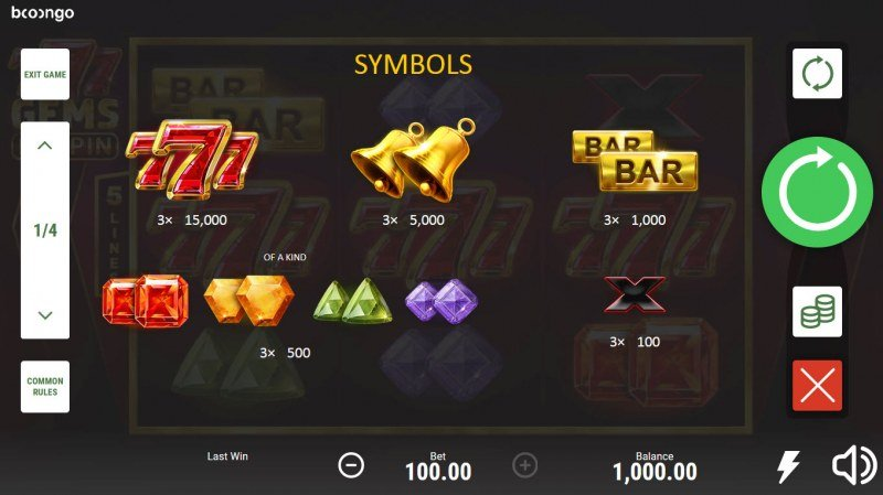777 Gems Respin :: Paytable