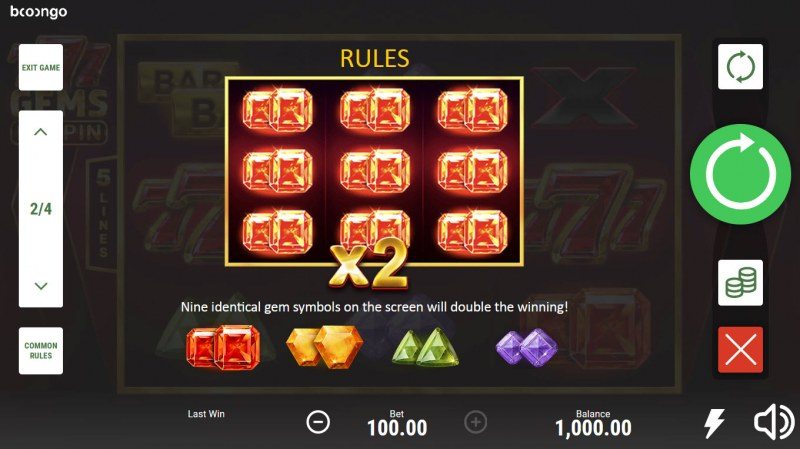 777 Gems Respin :: Win Multiplier
