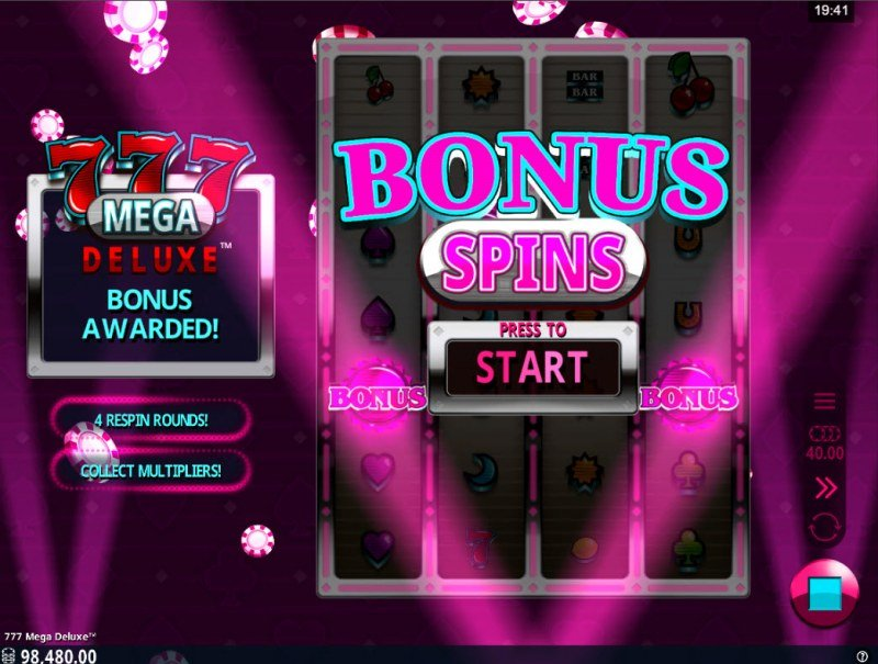 777 Mega Deluxe :: Scatter symbols triggers the free spins bonus feature