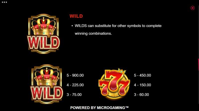 777 Royal Wheel :: Paytable - High Value Symbols