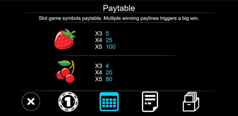 777 Slot :: Paytable - Low Value Symbols