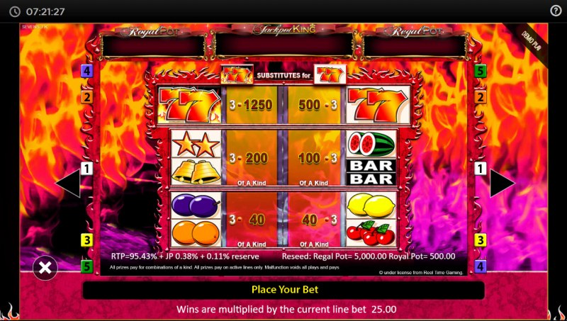 7's Deluxe Jackpot King :: Paytable