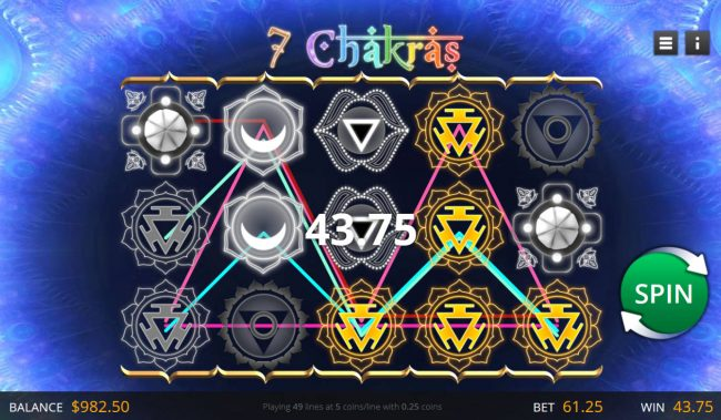 Jumba Bet featuring the Video Slots 7 Chakras with a maximum payout of $12,250
