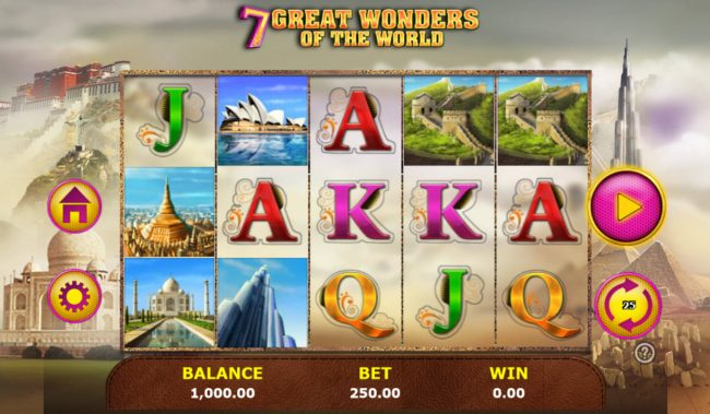 Vegas Winner featuring the Video Slots 7 Great Wonders of the World with a maximum payout of $5,000