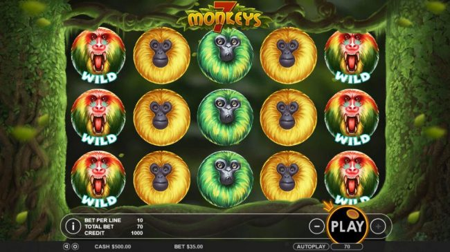 Main game board featuring five reels and 7 paylines with a $7,500 max payout