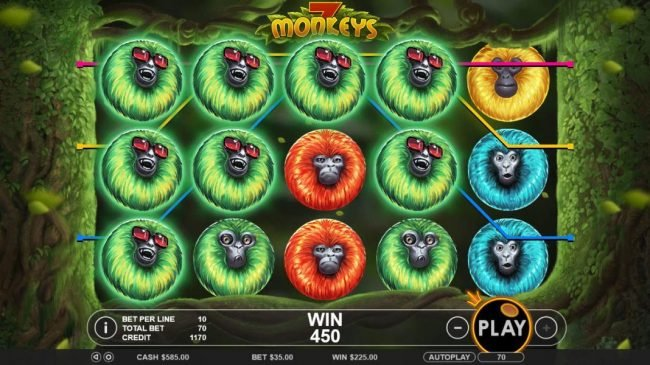 Astralbet featuring the Video Slots 7 Monkeys with a maximum payout of $7,500