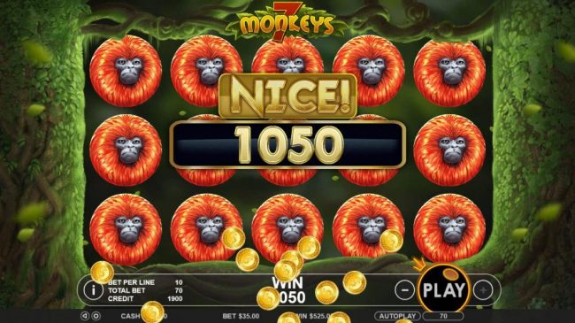 With the reels filled with orange monkeys leads to a 1050 coin payout.