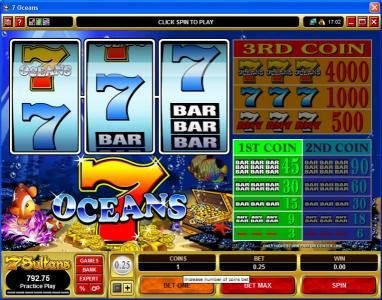 Jackpot Knights featuring the Video Slots 7 Oceans with a maximum payout of $60,000