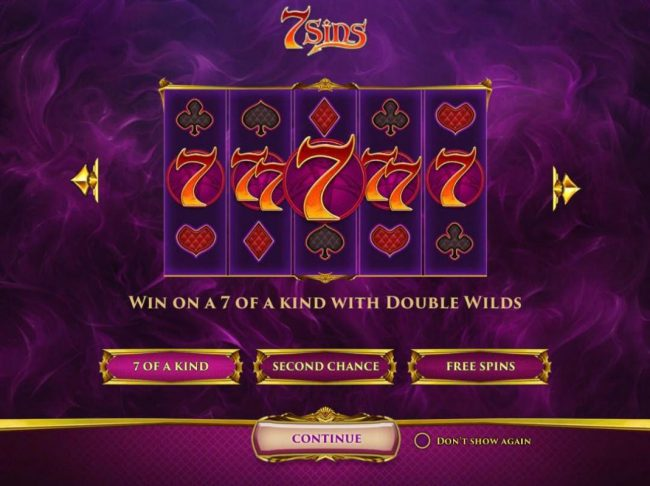 Win on a 7 of a kind with double wilds