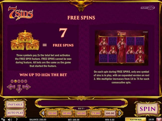 Three Pandora box scatter symbols pay 2x and award 7 free spins.