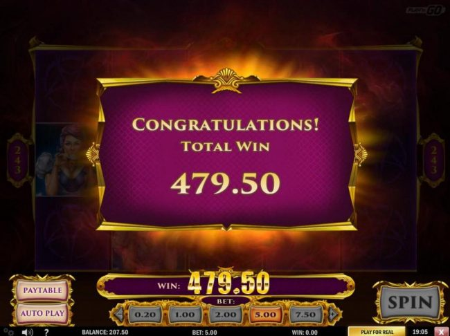 Total Free Spins payout 479.50.