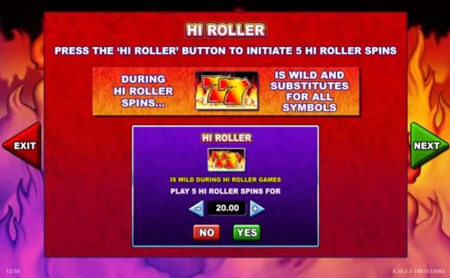 Lucky Me Slots featuring the Video Slots 7's to Burn with a maximum payout of $125,000