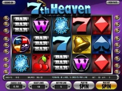 123 Vegas Win featuring the Video Slots 7th Heaven with a maximum payout of 7500x