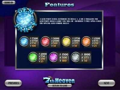 Winner Million featuring the Video Slots 7th Heaven with a maximum payout of 7500x