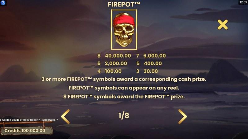8 Golden Skulls of Jolly Roger Megaways :: Firepot