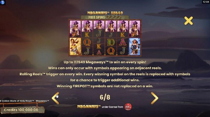 8 Golden Skulls of Jolly Roger Megaways :: 117649 Ways to Win