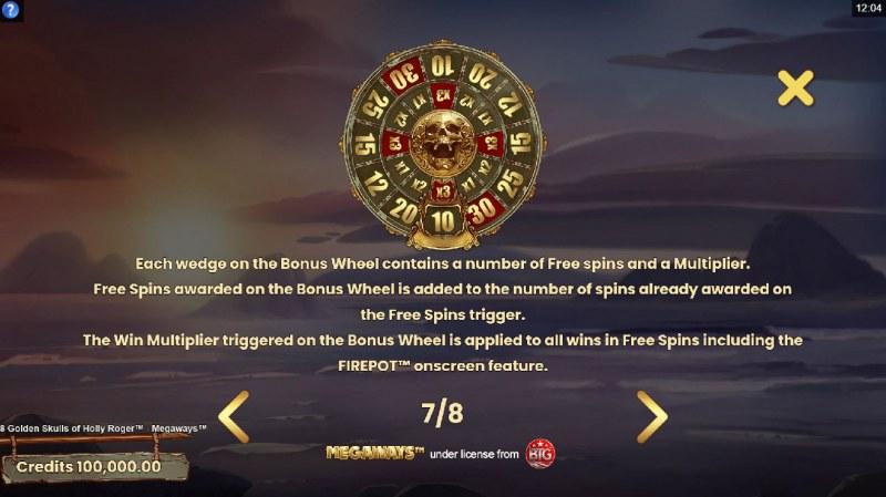 8 Golden Skulls of Jolly Roger Megaways :: Bonus Wheel
