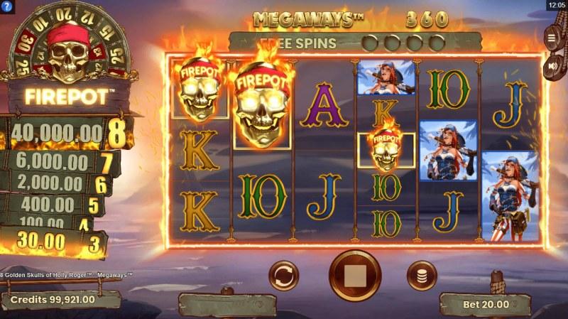 8 Golden Skulls of Jolly Roger Megaways :: Scatter Win