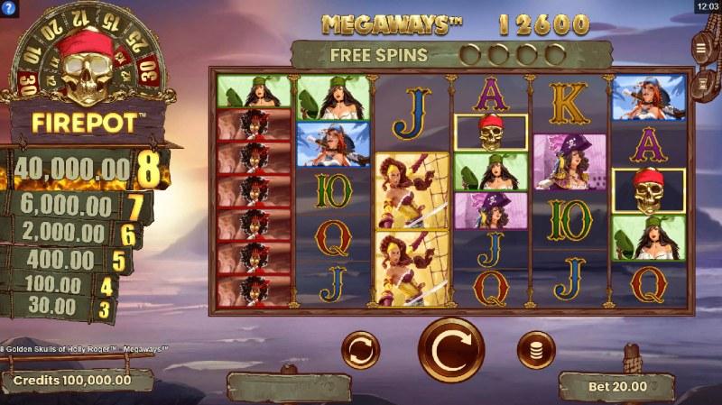 8 Golden Skulls of Jolly Roger Megaways :: Main Game Board
