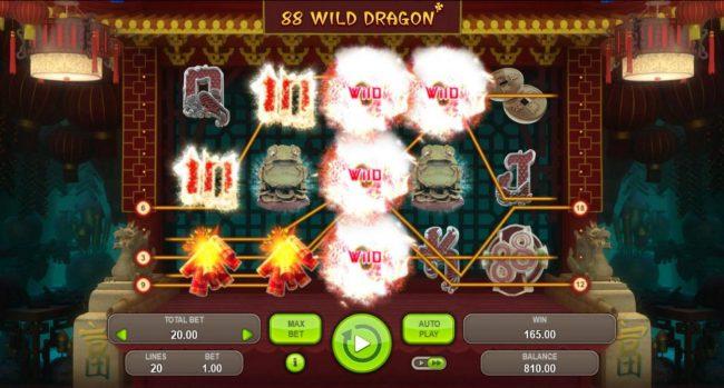 88 Wild Dragon :: Multiple winning paylines triggers a big win!