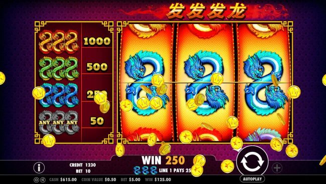 Casino Club featuring the Video Slots 888 Dragons with a maximum payout of $500