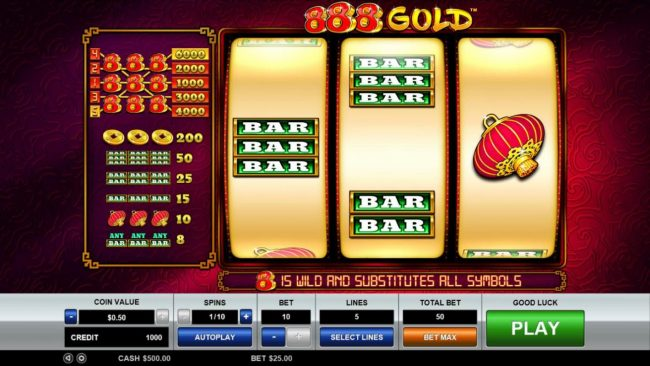 Play slots at Bet it All: Bet it All featuring the Video Slots 888 Gold with a maximum payout of $30,000