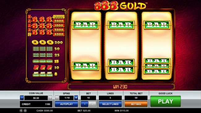 A pair of winning paylines triggers a 230 coin win.