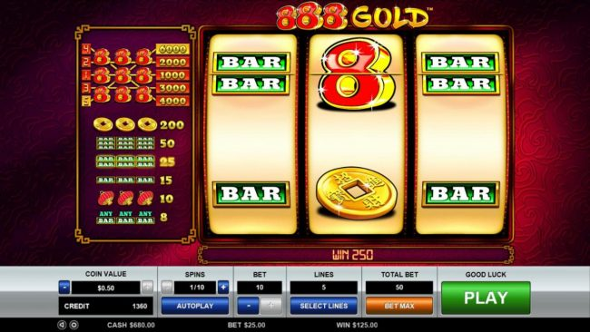 Wild symbol completes a winning three of a kind leading to a 250 coin big win.