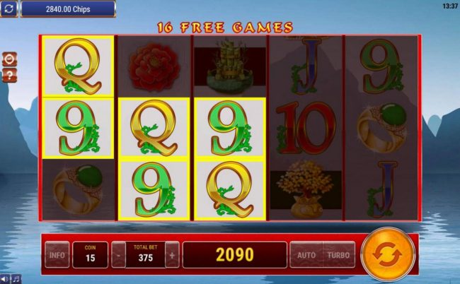 Multiple winning paylines triggers a big win during the Free Games bonus feature!