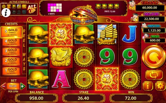 A winning combination of gold turtle symbols triggers a 72.00 payout.
