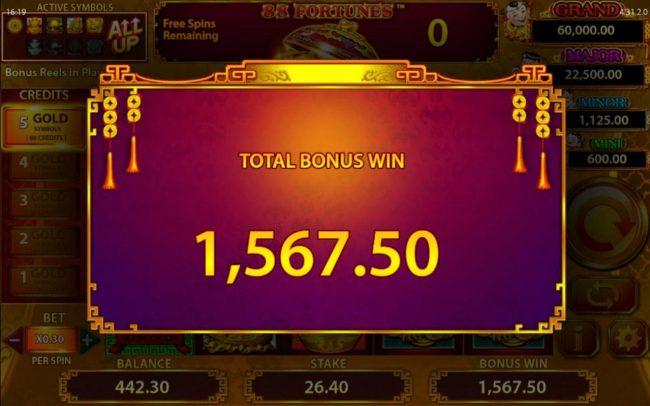 Free Games Total Bonus Win 1,567.50