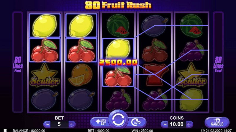 80 Fruit Rush :: Multiple winning paylines