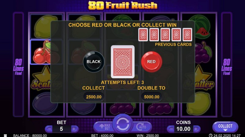 80 Fruit Rush :: Black or Red Gamble Feature