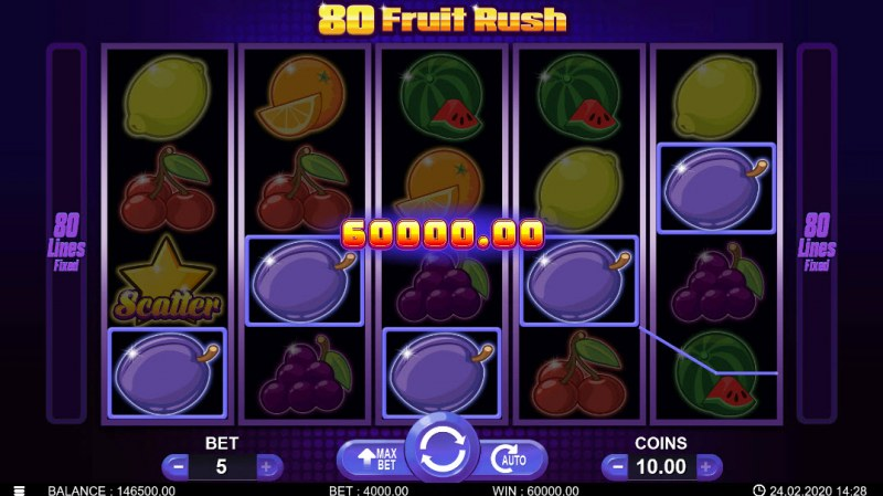80 Fruit Rush :: Five of a kind