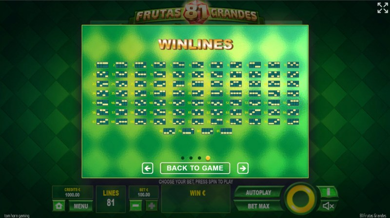 81 Frutas Grandes :: Paylines 1-81
