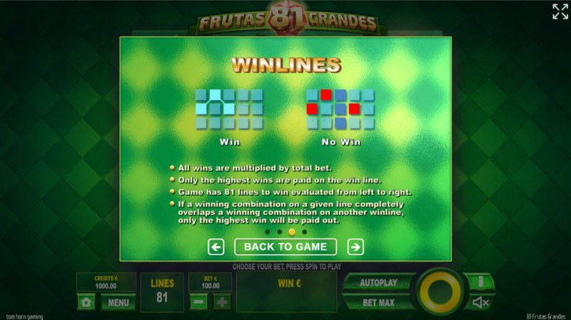 81 Frutas Grandes :: Win Lines