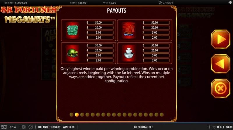 88 fortunes Megaways :: Paytable - Medium Value Symbols