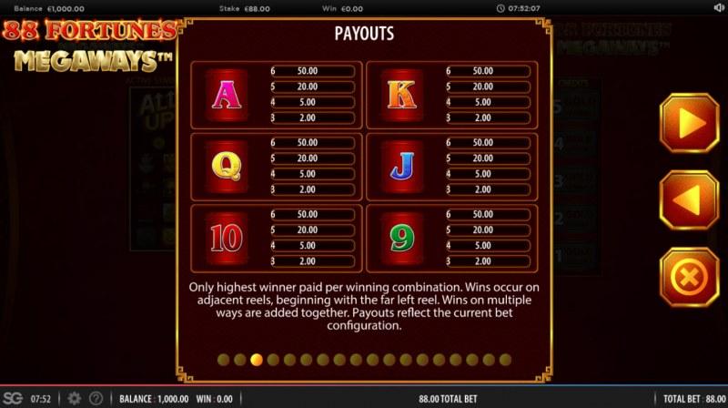 88 fortunes Megaways :: Paytable - Low Value Symbols