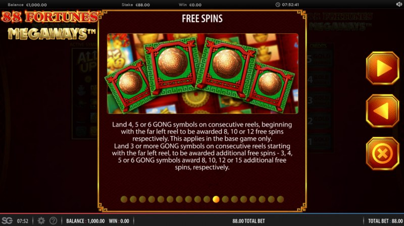88 fortunes Megaways :: Free Spins Rules