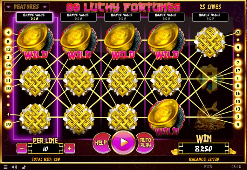 88 Lucky Fortunes :: Multiple winning combinations leads to a big win
