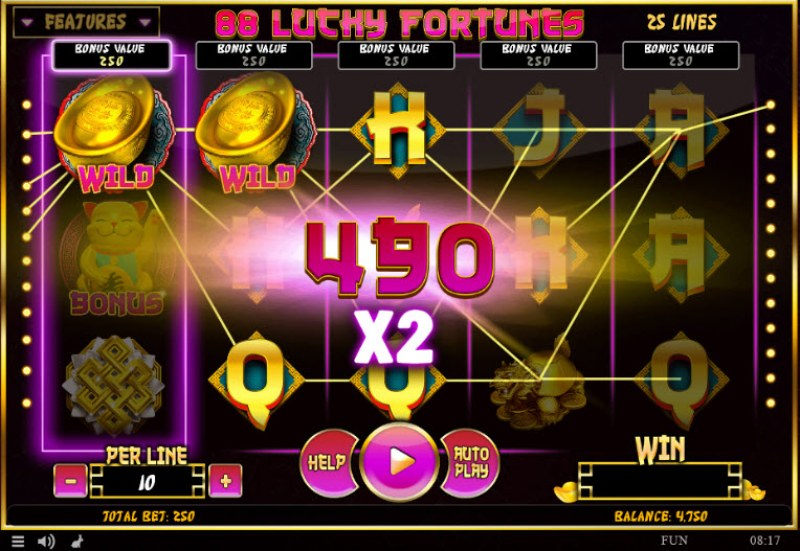 88 Lucky Fortunes :: Multiple winning paylines with a 2X win multiplier