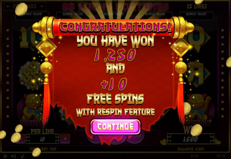 88 Lucky Fortunes :: 10 Free Spins Awarded