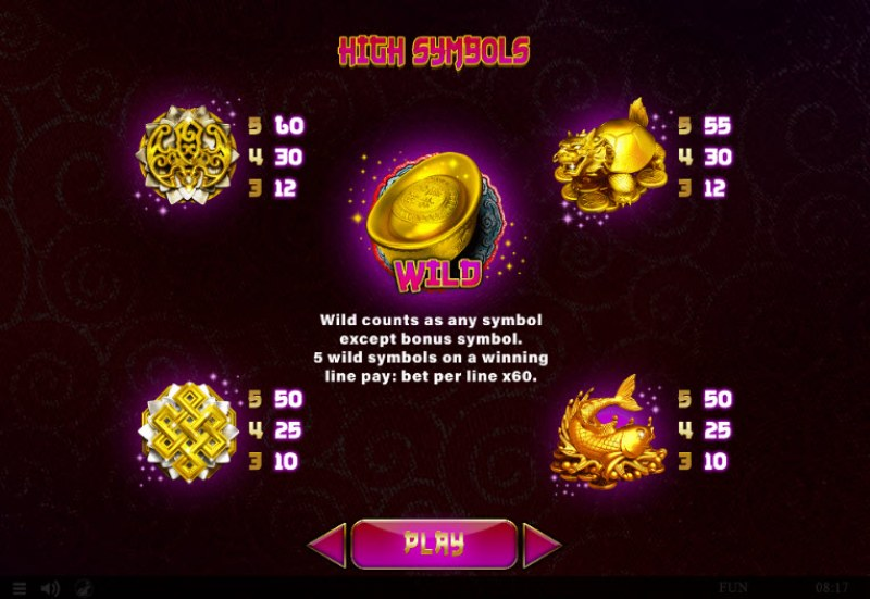 88 Lucky Fortunes :: Paytable - High Value Symbols