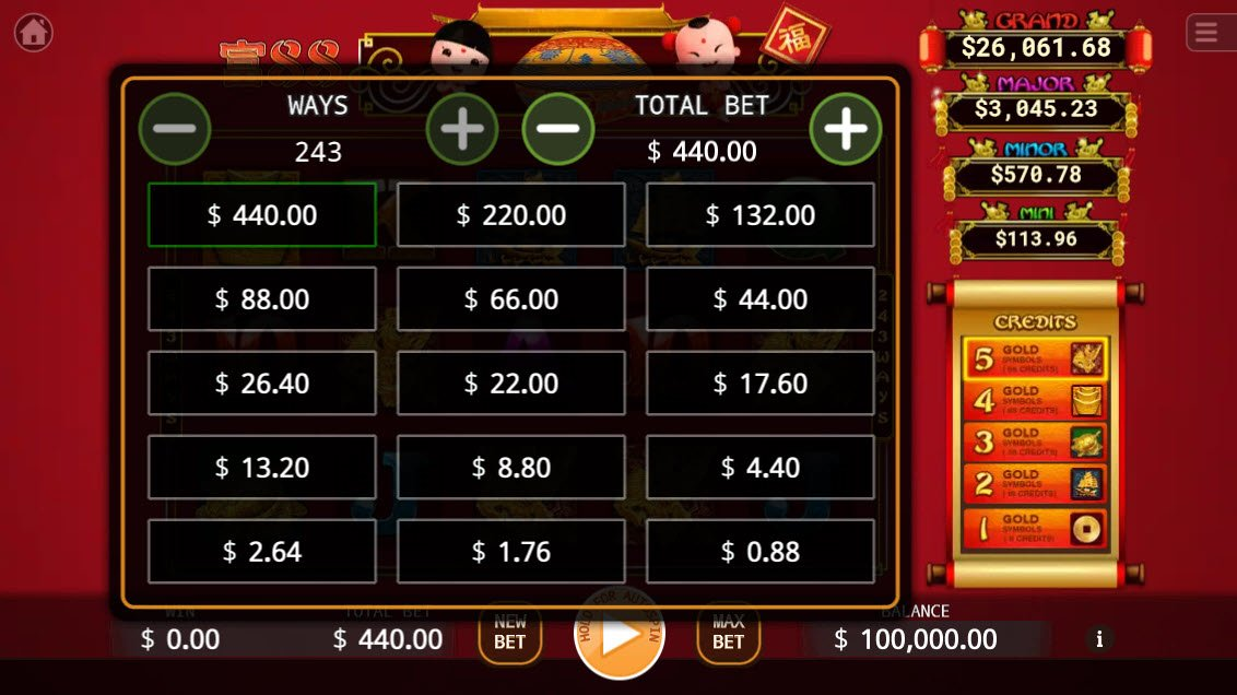 88 Riches :: Available Betting Options