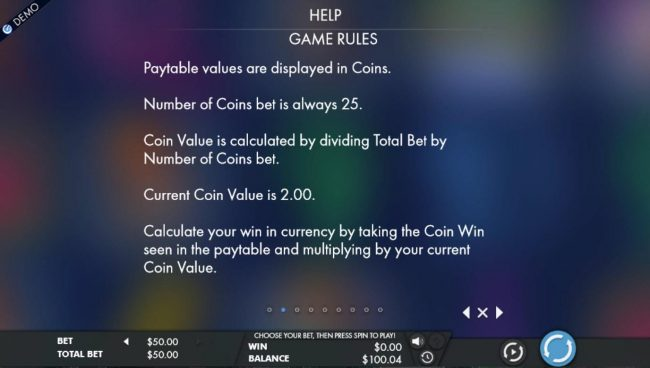 Paytable values are displayed in coins. Number of coins bet is always 25.