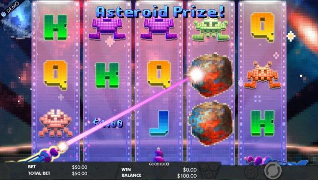 Asteroids landing on the reels will be blasted awarding player with a cash prize and new symbols will cascade down giving player a chance for additional wins.