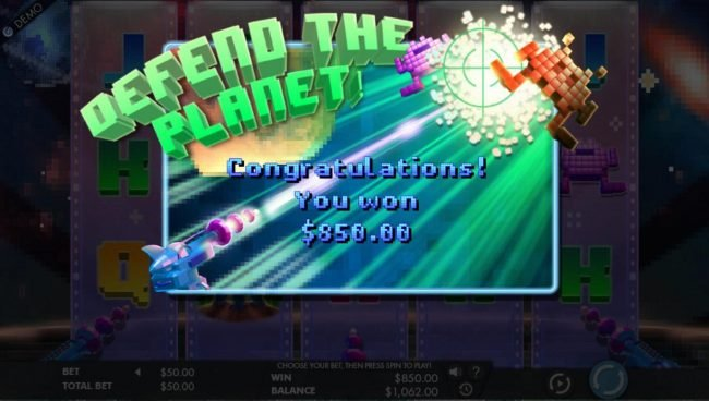 Videoslots featuring the Video Slots 8 Bit Intruders with a maximum payout of $25,000
