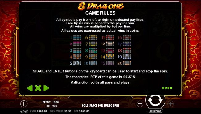 Kingbit Casino featuring the Video Slots 8 Dragons with a maximum payout of $25,000