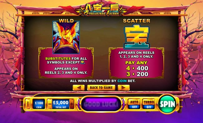 Royal Dice featuring the Video Slots 8 Treasures 1 Queen with a maximum payout of $1,000,000